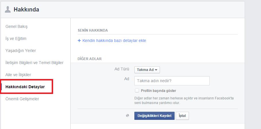 facebook 2. isim yazma