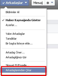 facebook arkadas silme