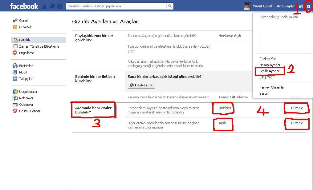 Facebook-Profilini Aramalara Kapatma