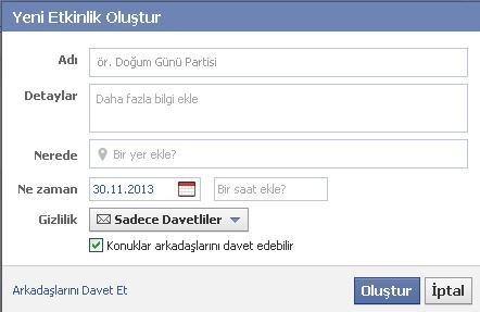 facebook etkinlik yapma
