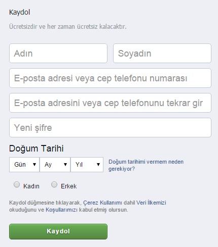 facebooka kaydol