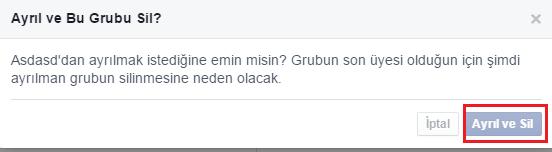 facebook grup silme