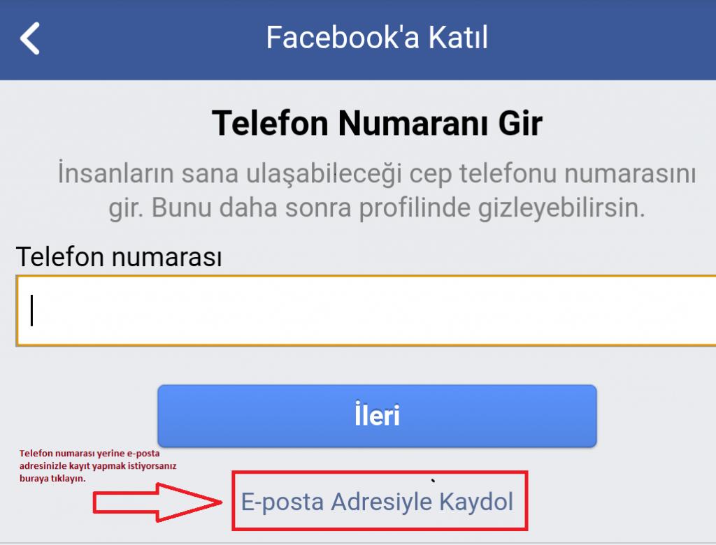 Facebook mobil hesap açma
